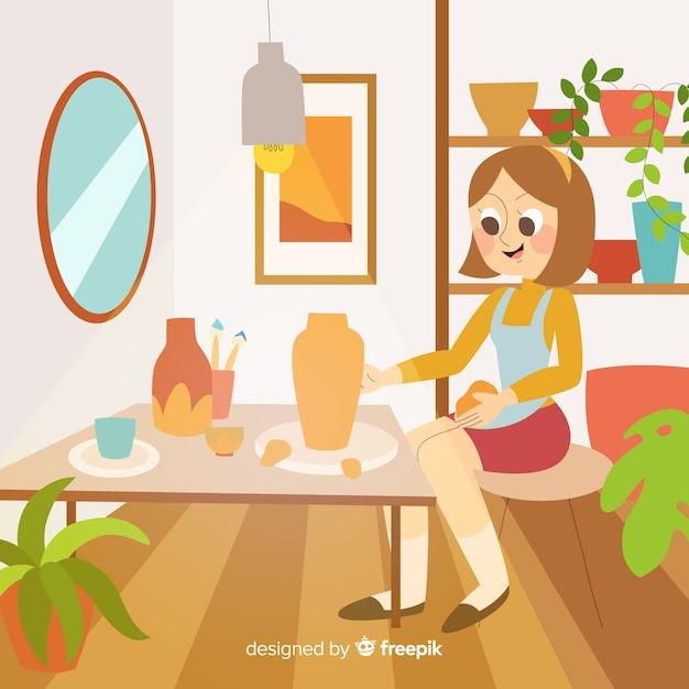 Femme faisant de la poterie à son bureau Vecteur gratuit