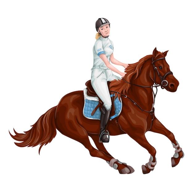 Femme, fille, équitation, chevaux, vector illustration, isolé Vecteur Premium