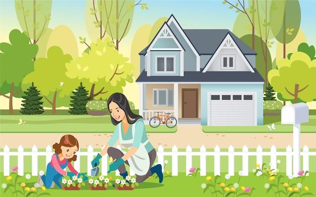 Femme Et Fille, Mère Et Fille, Jardiner Ensemble En Plantant Des Fleurs Dans Le Jardin. Maternité éducation Des Enfants. Vecteur Premium