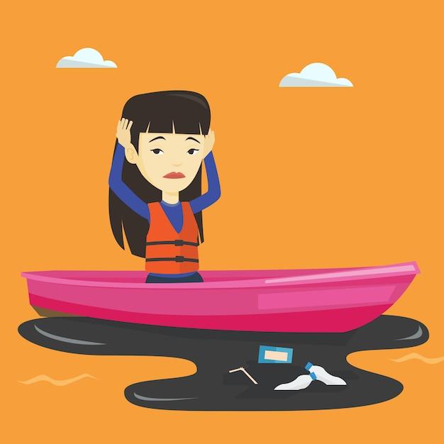 Femme Flottant Dans Un Bateau Dans L'eau Polluée. Vecteur Premium