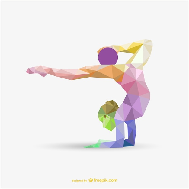 Femme de gymnastique rythmique avec un design de couleur de la boule de triangle Vecteur gratuit