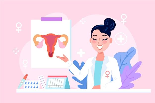 Femme Gynécologue Avec Des éléments Médicaux Illustrés Vecteur gratuit