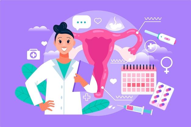 Femme Gynécologue Illustrée D'éléments Médicaux Vecteur gratuit