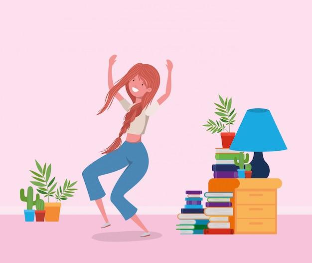 Femme heureuse dans la salle d'étude Vecteur gratuit