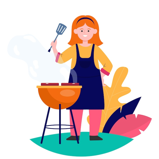 Femme Heureuse, Griller, Barbecue, Viande Vecteur gratuit