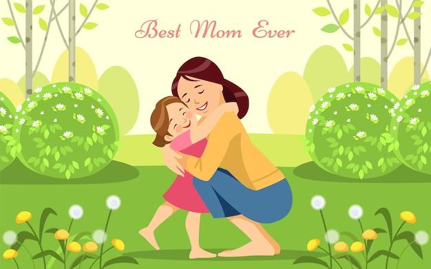 Femme heureuse et son enfant dans le jardin fleuri du printemps. Vecteur Premium