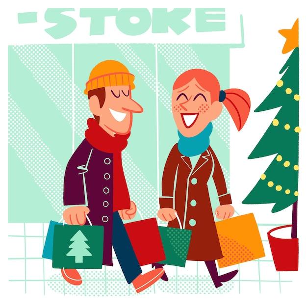 Femme et homme achetant des cadeaux de noël Vecteur gratuit