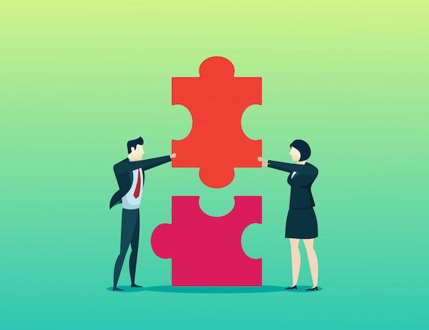 Femme et homme d'affaires concept mis en place ensemble puzzle Vecteur Premium