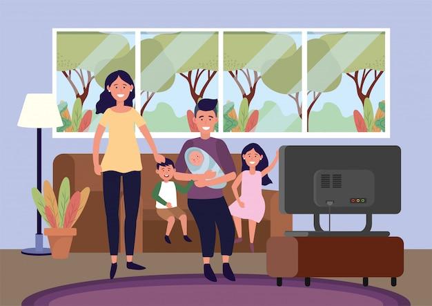 Femme et homme avec bébé et enfants dans le canapé Vecteur gratuit