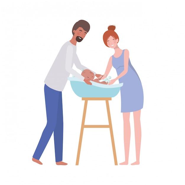 Femme Et Homme Avec Bébé Nouveau-né Dans La Baignoire Vecteur Premium