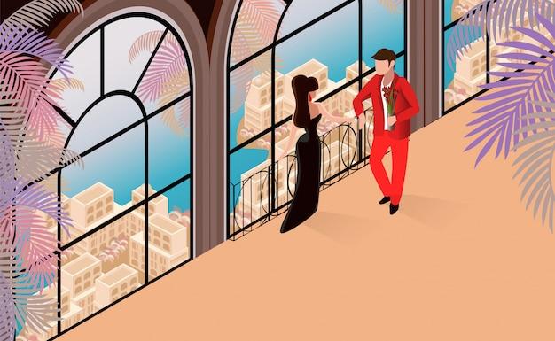 Femme Homme Conversation à L'illustration Restaraunt. Vecteur Premium