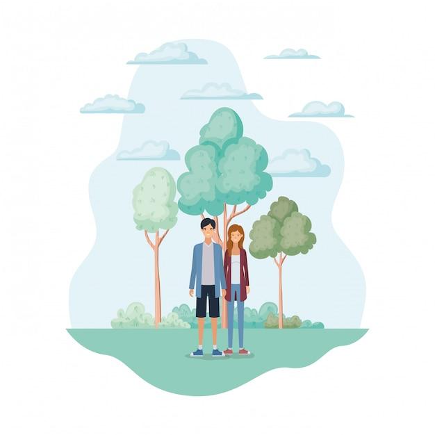 Femme et homme dans le parc Vecteur gratuit