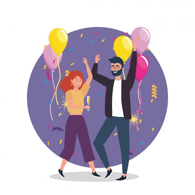 Femme et homme dansant avec décoration de ballons Vecteur gratuit