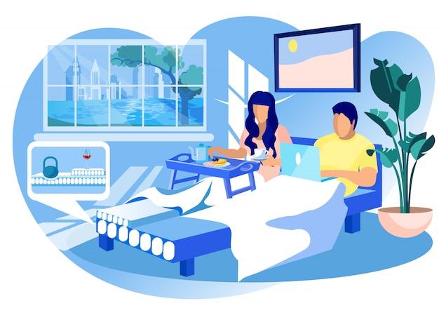 Femme et homme sur un matelas orthopédique à la maison. Vecteur Premium