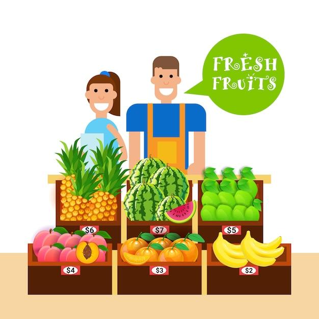 Femme et homme vendant des fruits frais sur le concept de produits sains naturels du marché des aliments biologiques Vecteur Premium
