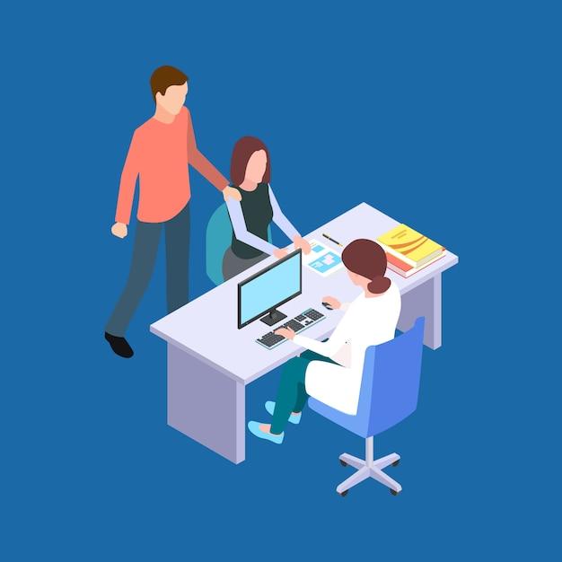 Femme Et Homme Visitent Un Médecin. Couple à Un Concept De Vecteur Isométrique Spécialiste De La Fertilité Vecteur Premium
