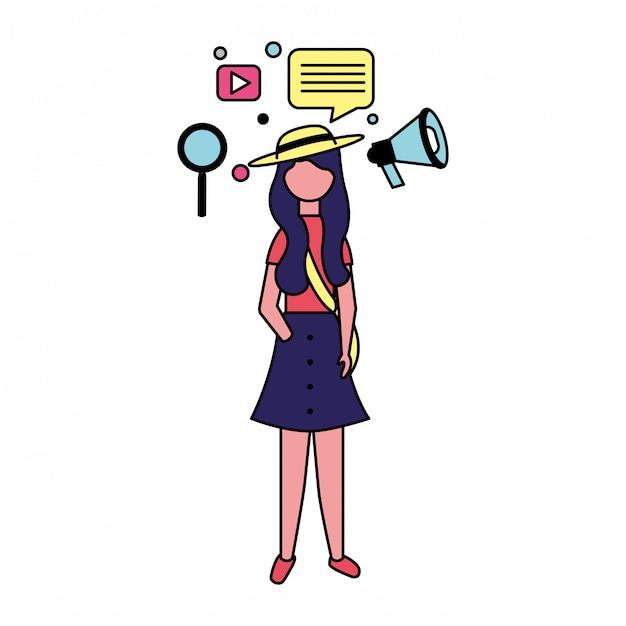 Femme avec des icônes de médias sociaux Vecteur Premium