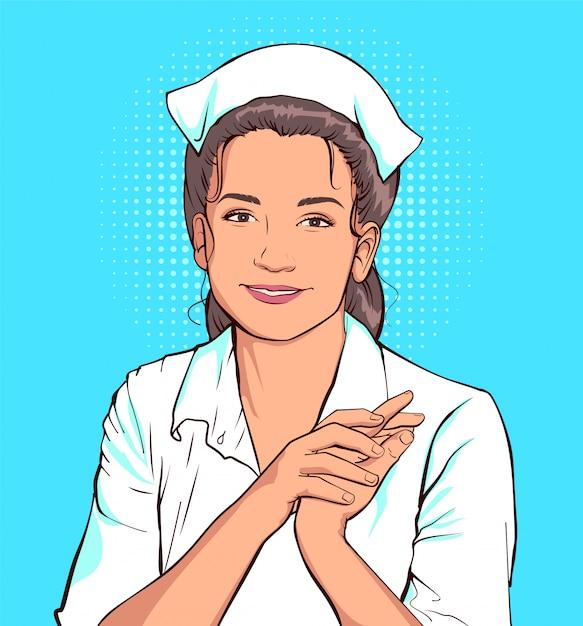 Femme Infirmière Timide En Blouse Blanche Vecteur Premium
