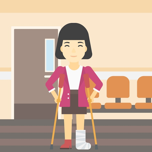 Femme avec une jambe cassée et des béquilles. Vecteur Premium