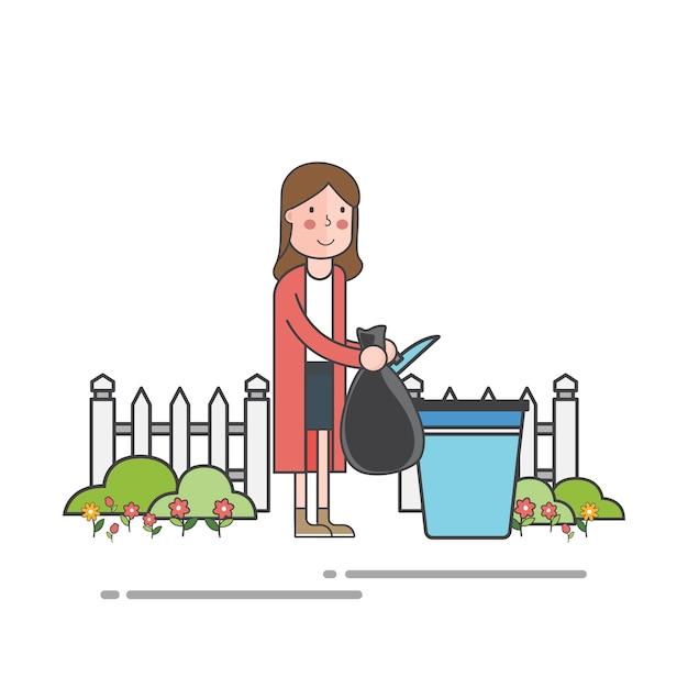 Femme jetant des ordures pour refuser le conteneur Vecteur gratuit