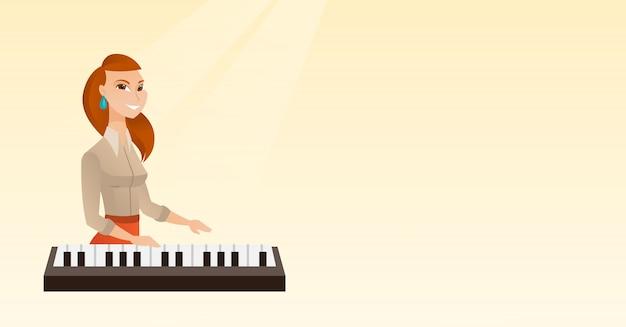 Femme jouant du piano Vecteur Premium