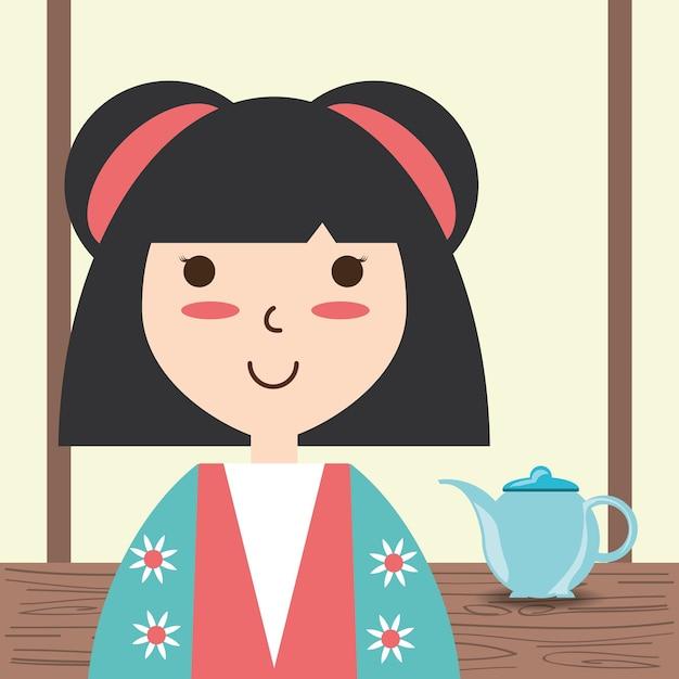 Femme avec kimono et design de décoration de thé en porcelaine Vecteur Premium