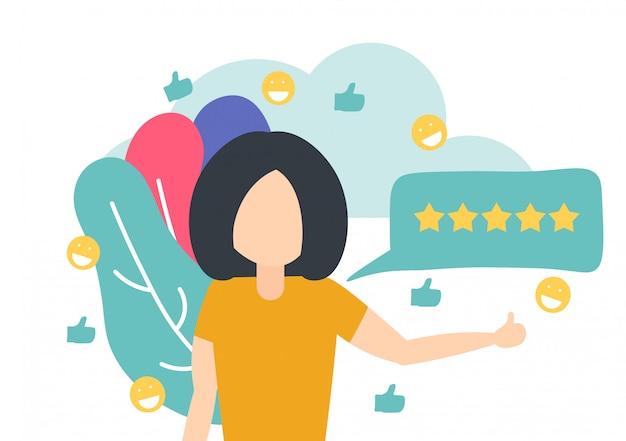 Femme laissant une bonne critique pour un produit en ligne Vecteur Premium