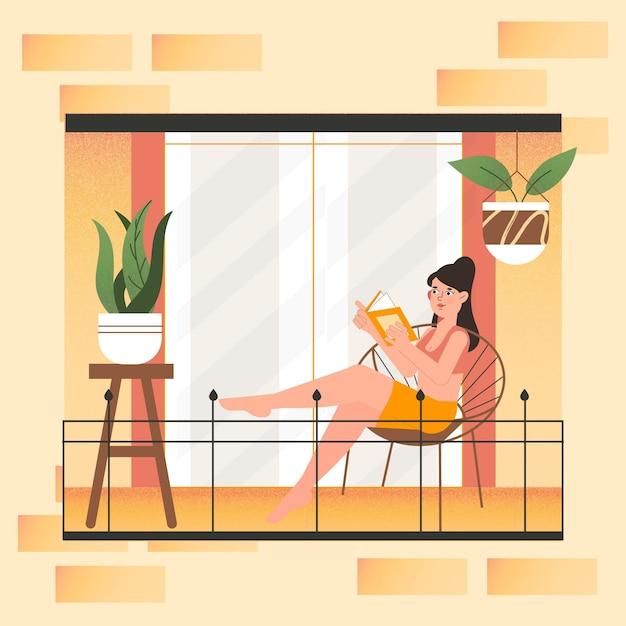 Femme, Lecture, Balcon, Staycation, Concept Vecteur gratuit