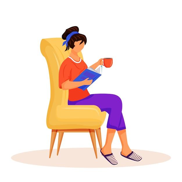Femme, Lecture, Livre, Caractère Vecteur Premium