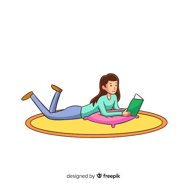 Femme lisant un livre par terre Vecteur gratuit