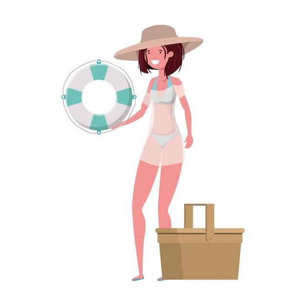 Femme avec maillot de bain et flotteur de sauvetage en blanc Vecteur gratuit