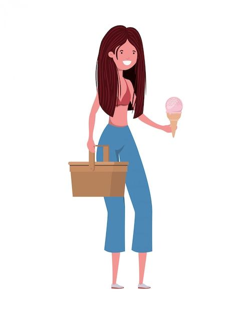 Femme avec maillot de bain et pique-nique Vecteur gratuit