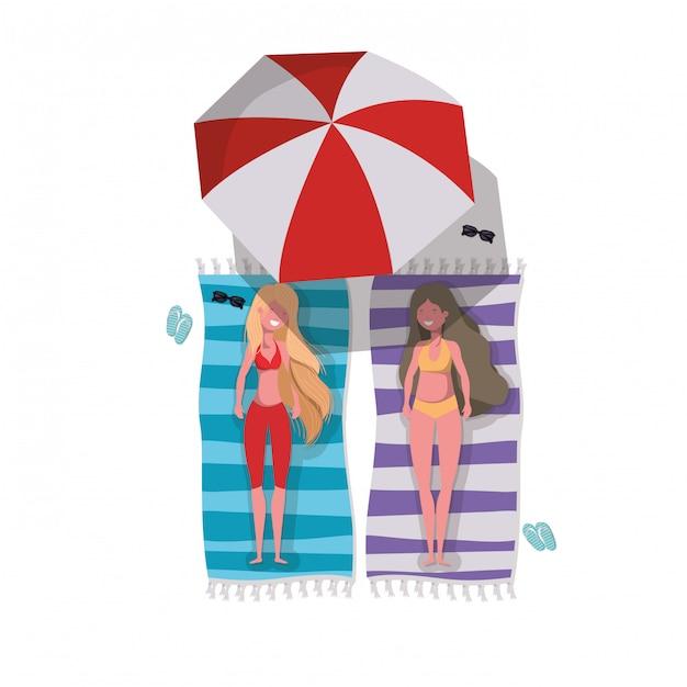 Femme avec maillot de bain Vecteur Premium