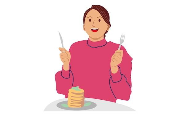 Femme Mangeant Des Crêpes Pour Le Petit Déjeuner Vecteur Premium