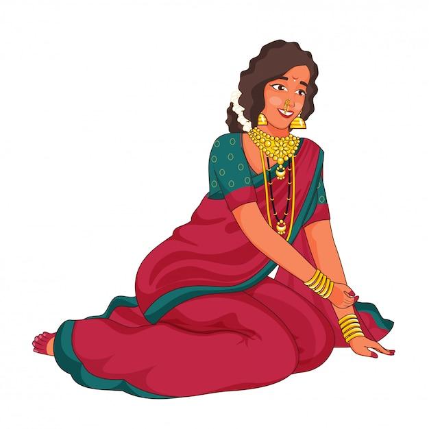 Femme Marathi Vêtue D'une Robe Traditionnelle En Posture Assise. Vecteur Premium
