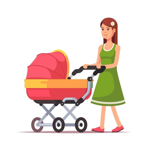 Femme marchant avec son enfant dans un landau rose Vecteur gratuit