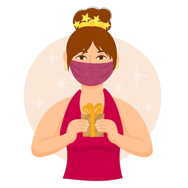 Femme Avec Masque Facial Offrant Un Cadeau Vecteur Premium