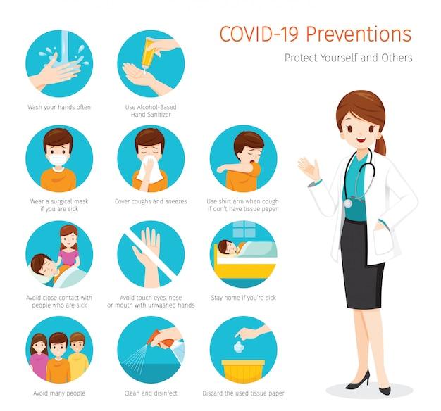 Femme Médecin Atteinte De Maladie à Coronavirus, Préventions Covid-19, Mesures Pour Vous Protéger Et Protéger Les Autres Vecteur Premium