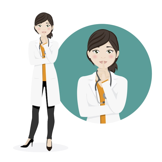 Femme médecin demandant le silence sur un fond blanc Vecteur Premium