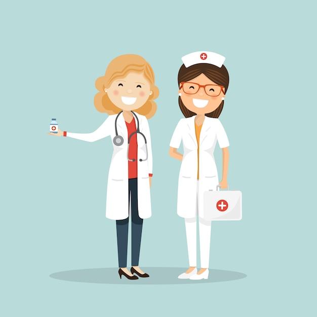 Femme médecin et infirmière. équipe d'hôpital Vecteur Premium