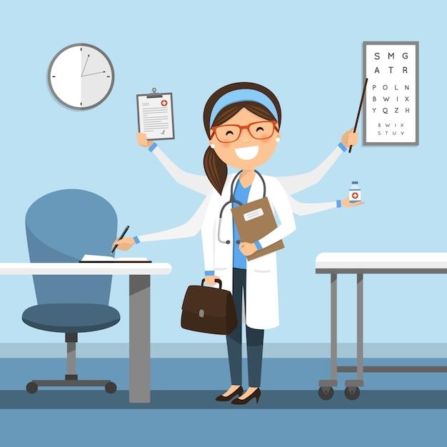 Femme médecin multitâche à l'hôpital Vecteur Premium