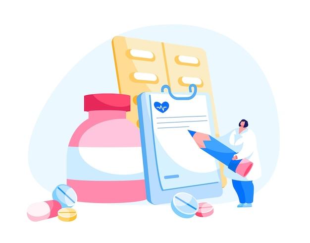 Femme Médecin Pharmacien En Rédaction De Vêtements Médicaux Vecteur Premium