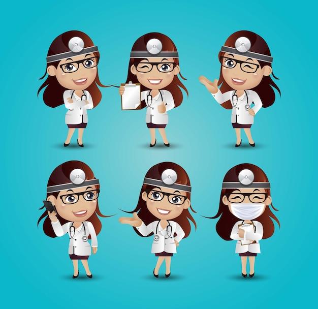 Femme Médecin Avec Des Poses Différentes Vecteur Premium