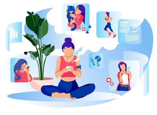 Femme médias sociaux vie quotidienne métaphore bannière plate Vecteur Premium