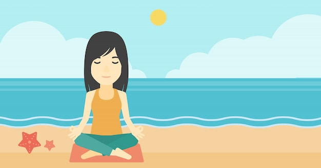 Femme méditant en posture de lotus. Vecteur Premium