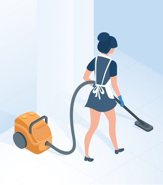 Femme de ménage en uniforme aspirer le sol dans le couloir Vecteur Premium
