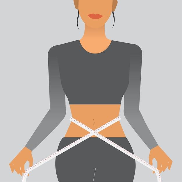Femme mesurant sa taille Vecteur gratuit
