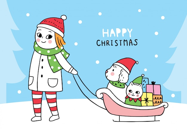 Femme Mignonne De Noël Avec Son Chien Et Son Chat Assis En Traîneau Vecteur Premium
