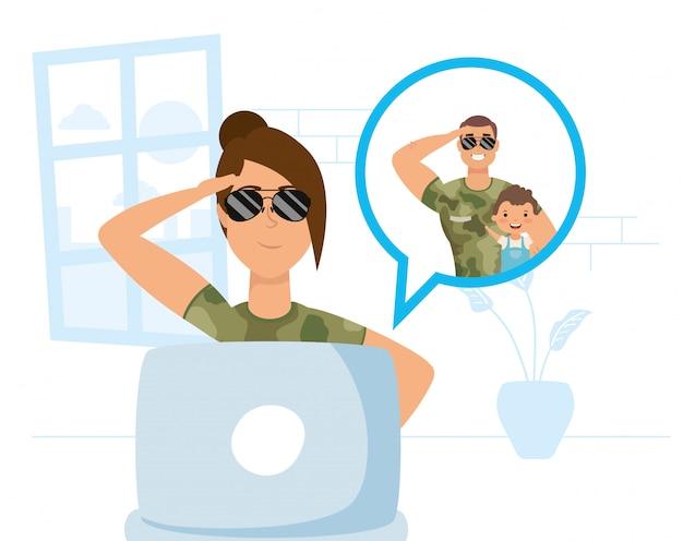 Femme Militaire Utilisant Un Ordinateur Portable Pour Communiquer Et Rester à La Maison Vecteur Premium
