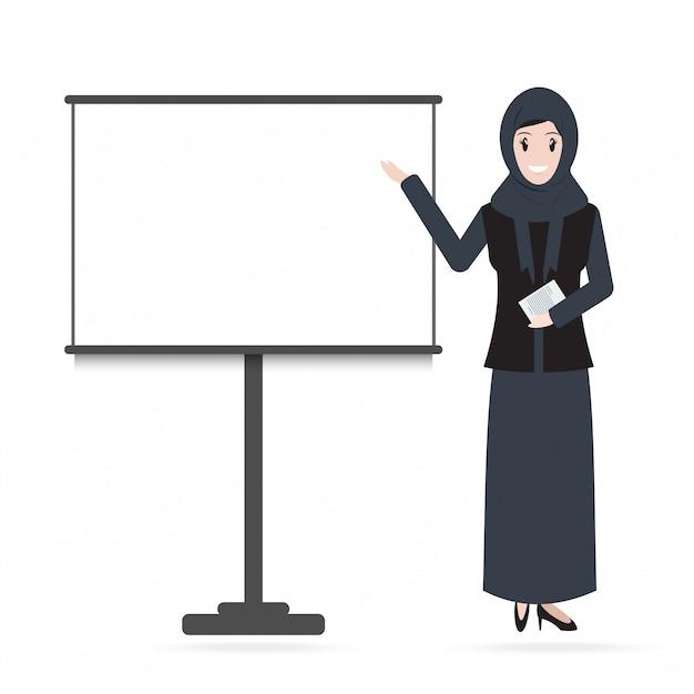 Femme musulmane debout et présentation Vecteur Premium